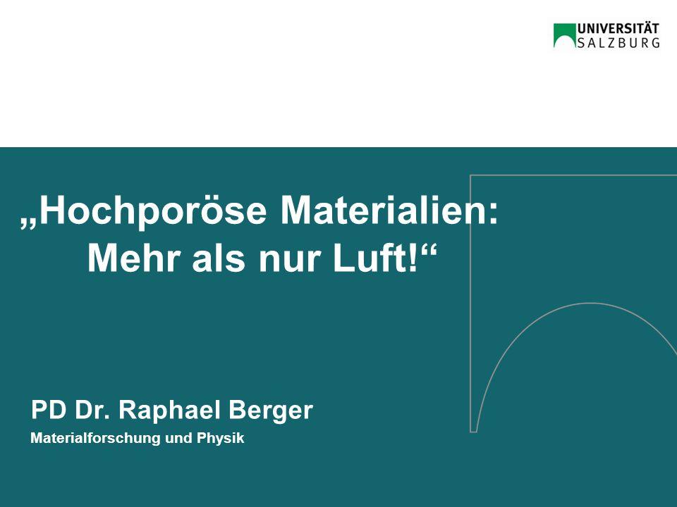 """Hochporöse Materialien: Mehr als nur Luft!"" PD Dr. Raphael Berger Materialforschung und Physik"