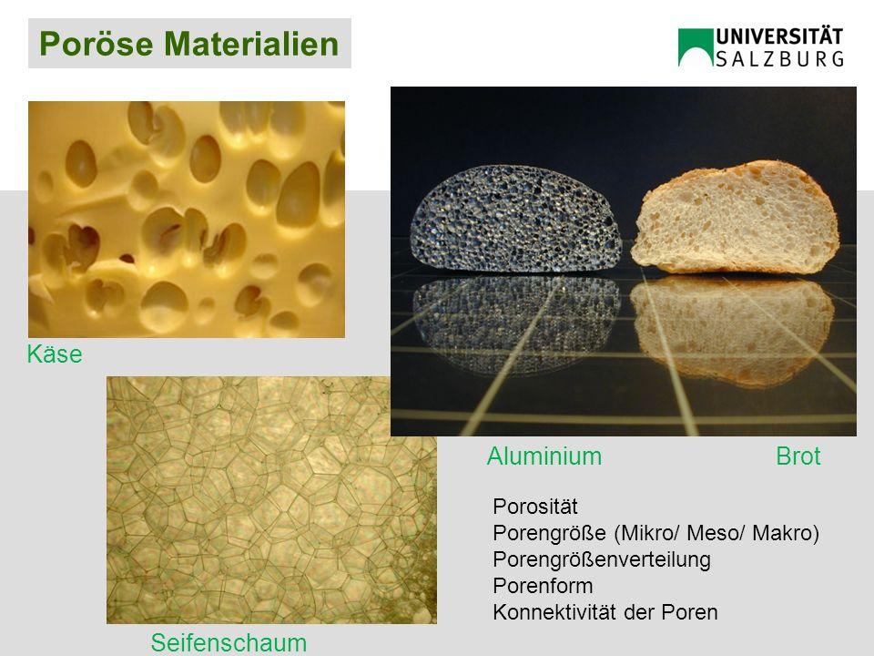 Poröse Materialien Käse Seifenschaum BrotAluminium Porosität Porengröße (Mikro/ Meso/ Makro) Porengrößenverteilung Porenform Konnektivität der Poren