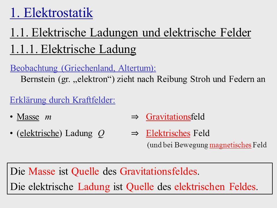1. Elektrostatik 1.1.1. Elektrische Ladung Beobachtung (Griechenland, Altertum): Bernstein (gr.