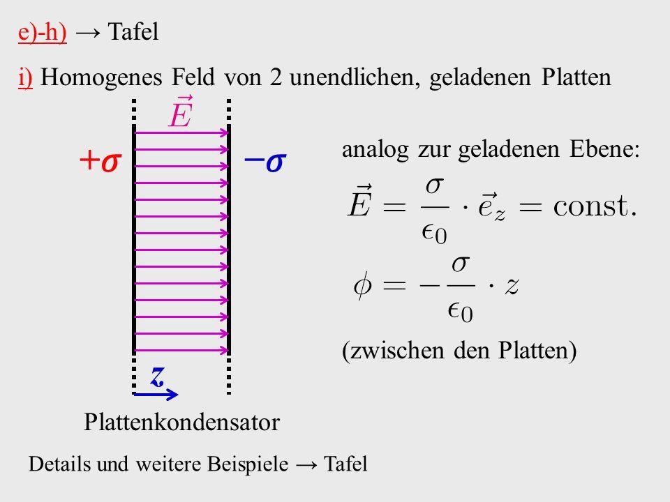 i) Homogenes Feld von 2 unendlichen, geladenen Platten z Plattenkondensator Details und weitere Beispiele → Tafel +− e)-h) → Tafel analog zur geladenen Ebene: (zwischen den Platten)