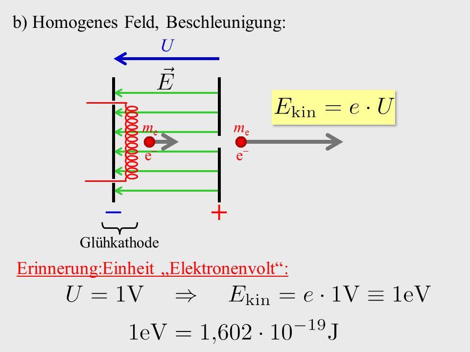 """b) Homogenes Feld, Beschleunigung: +− Glühkathode e−e− meme U e−e− meme Erinnerung:Einheit """"Elektronenvolt :"""