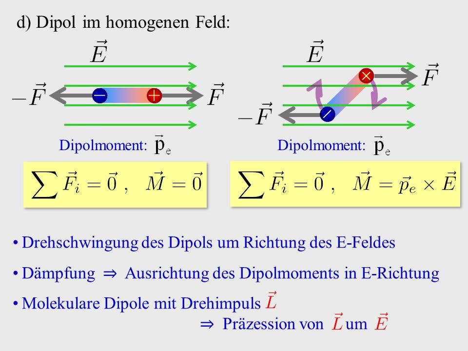 d) Dipol im homogenen Feld: +− Dipolmoment:   Drehschwingung des Dipols um Richtung des E-Feldes Dämpfung ⇒ Ausrichtung des Dipolmoments in E-Richtung Molekulare Dipole mit Drehimpuls ⇒ Präzession von um