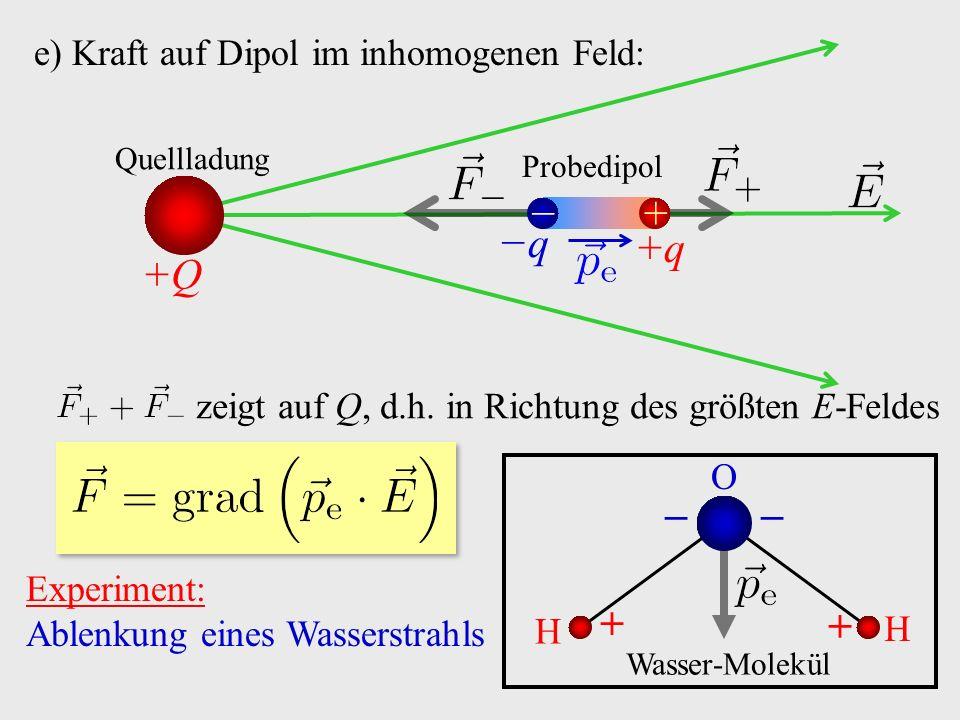 e) Kraft auf Dipol im inhomogenen Feld: + − +Q Quellladung Probedipol zeigt auf Q, d.h.