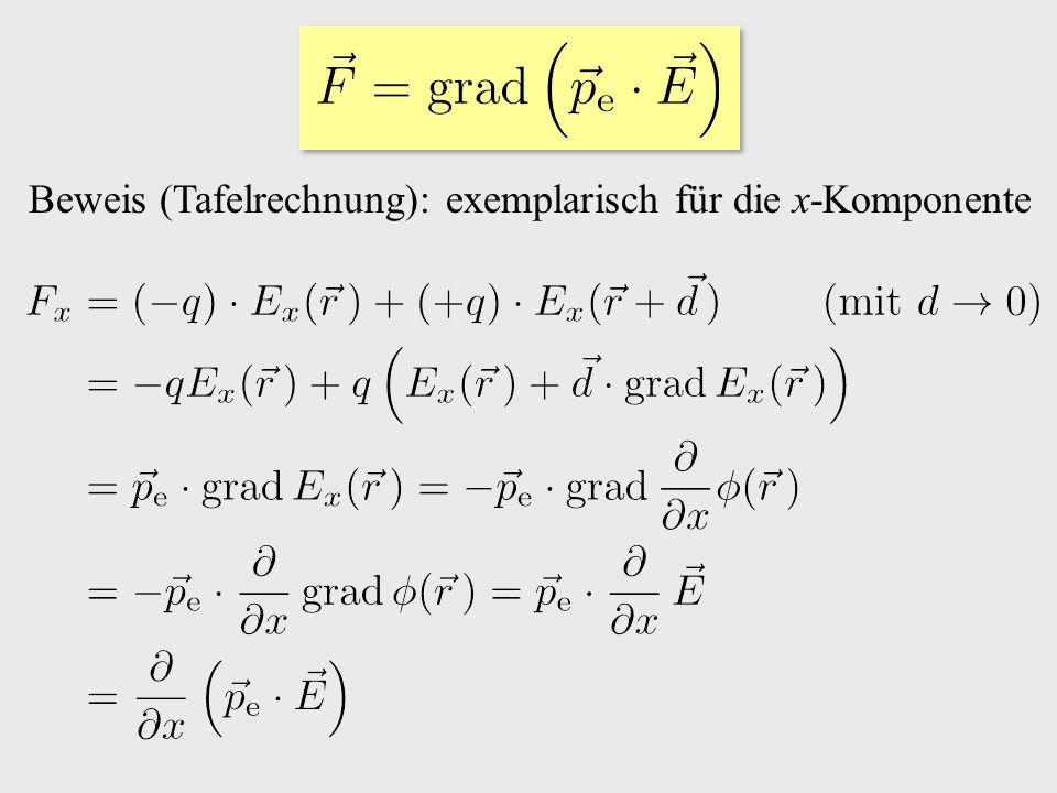 Beweis (Tafelrechnung): exemplarisch für die x-Komponente