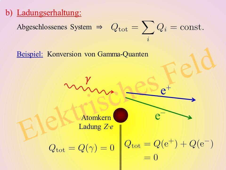 Elektrisches Feld b)Ladungserhaltung: Abgeschlossenes System ⇒ Beispiel: Konversion von Gamma-Quanten e+e+ e−e− Atomkern Ladung Z∙e