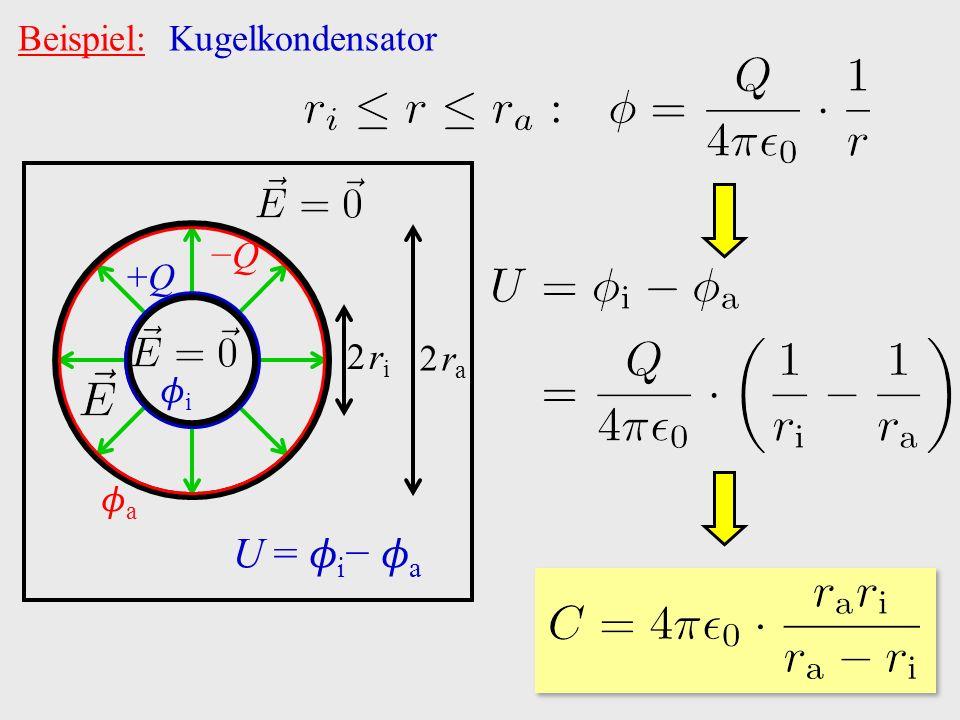 Beispiel: Kugelkondensator +Q+Q −Q−Q i a U = i − a 2 ri2 ri 2 ra2 ra