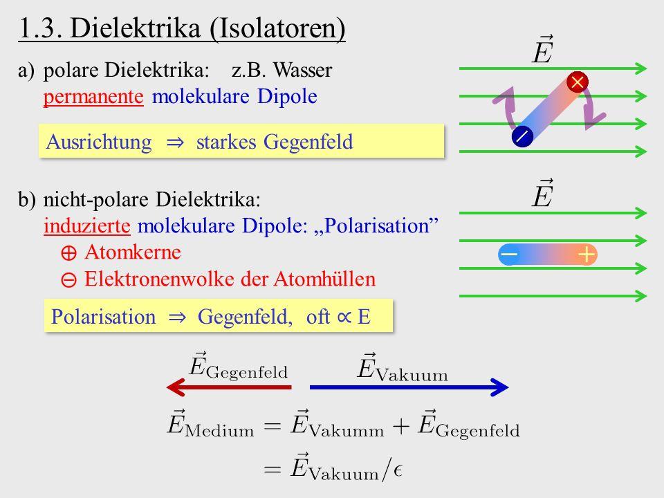 1.3. Dielektrika (Isolatoren) a)polare Dielektrika: z.B.