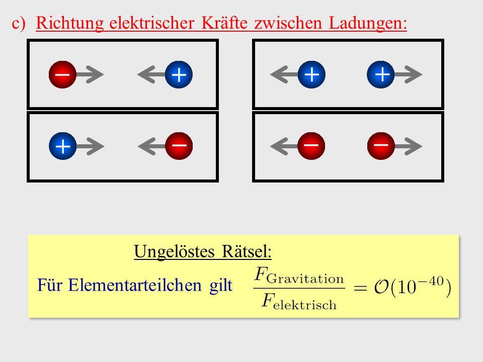 c)Richtung elektrischer Kräfte zwischen Ladungen: −+ − + + − − + Ungelöstes Rätsel: Für Elementarteilchen gilt