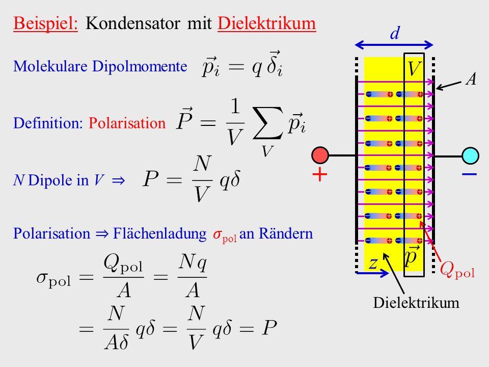 Beispiel: Kondensator mit Dielektrikum − A Dielektrikum + z d                             Molekulare Dipolmomente Definition: Polarisation N Dipole in V ⇒ Polarisation ⇒ Flächenladung pol an Rändern