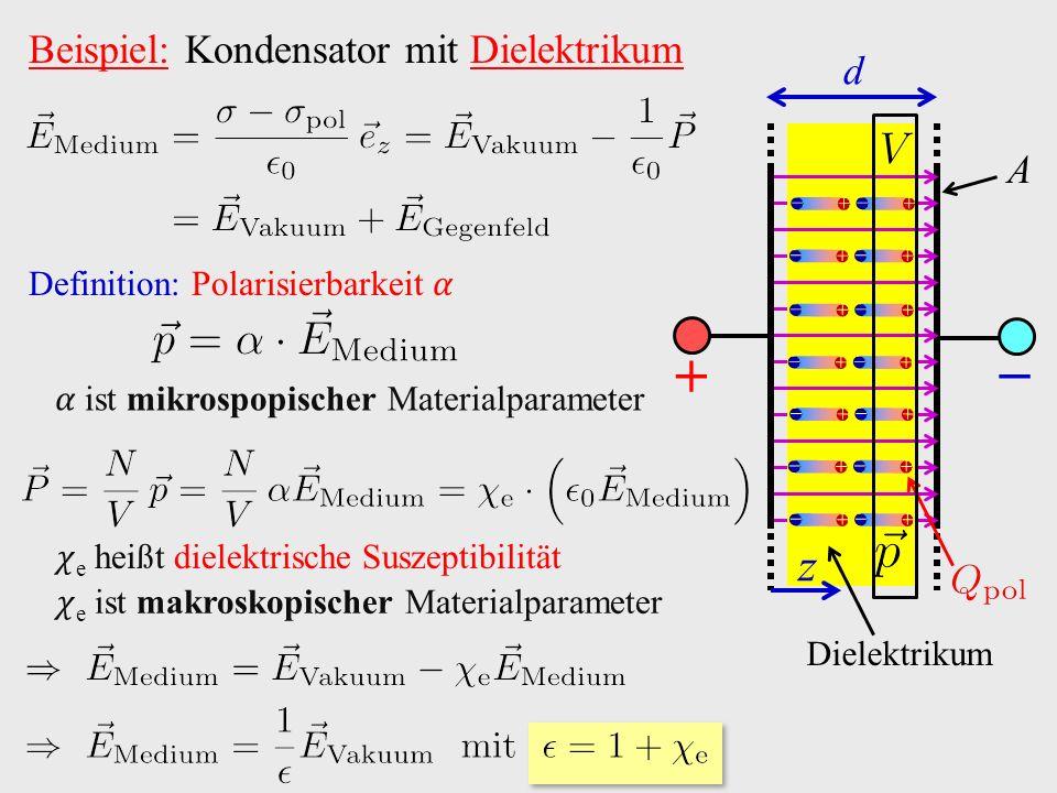 Beispiel: Kondensator mit Dielektrikum Definition: Polarisierbarkeit ist mikrospopischer Materialparameter e heißt dielektrische Suszeptibilität e ist makroskopischer Materialparameter − A Dielektrikum + z d                            