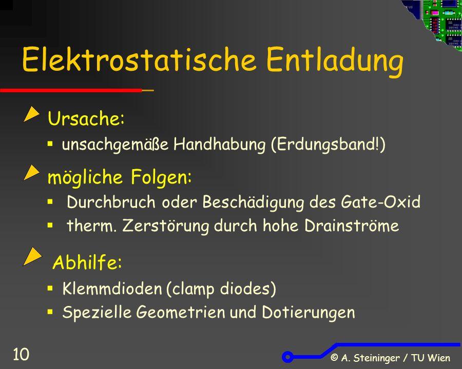 © A. Steininger / TU Wien 10 Elektrostatische Entladung Ursache:  unsachgemäße Handhabung (Erdungsband!) mögliche Folgen:  Durchbruch oder Beschädig