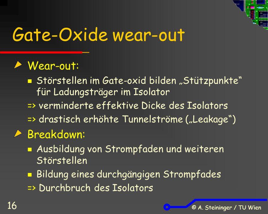 """© A. Steininger / TU Wien 16 Gate-Oxide wear-out Wear-out: Störstellen im Gate-oxid bilden """"Stützpunkte"""" für Ladungsträger im Isolator => verminderte"""