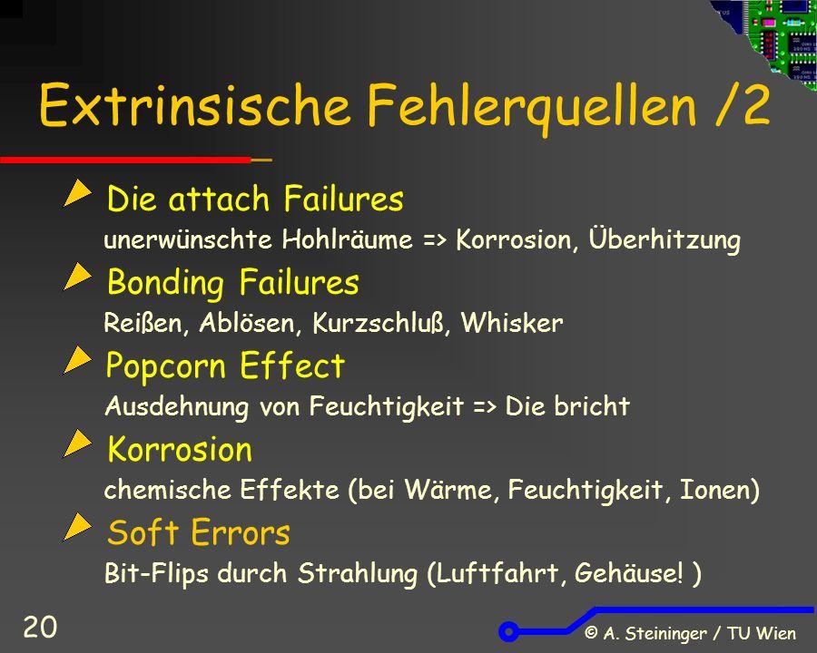 © A. Steininger / TU Wien 20 Extrinsische Fehlerquellen /2 Die attach Failures unerwünschte Hohlräume => Korrosion, Überhitzung Bonding Failures Reiße