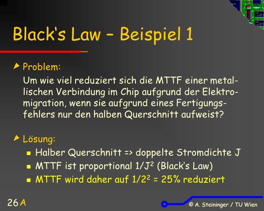 © A. Steininger / TU Wien 26 Black's Law – Beispiel 1 Problem: Um wie viel reduziert sich die MTTF einer metal- lischen Verbindung im Chip aufgrund de