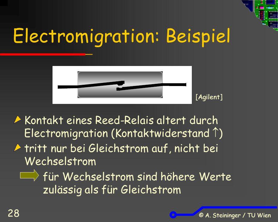 © A. Steininger / TU Wien 28 Electromigration: Beispiel Kontakt eines Reed-Relais altert durch Electromigration (Kontaktwiderstand  ) tritt nur bei G