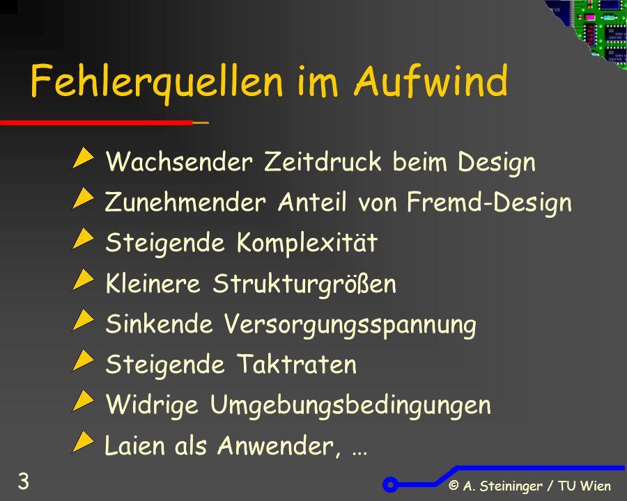 © A. Steininger / TU Wien 3 Wachsender Zeitdruck beim Design Zunehmender Anteil von Fremd-Design Steigende Komplexität Kleinere Strukturgrößen Sinkend