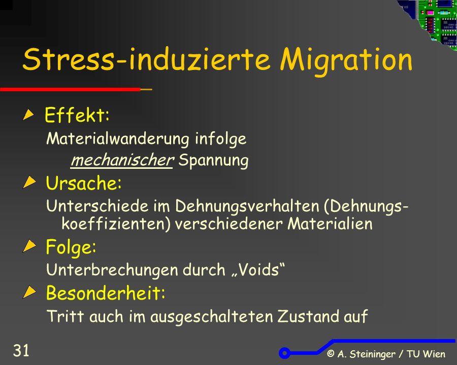 © A. Steininger / TU Wien 31 Stress-induzierte Migration Effekt: Materialwanderung infolge mechanischer Spannung Ursache: Unterschiede im Dehnungsverh