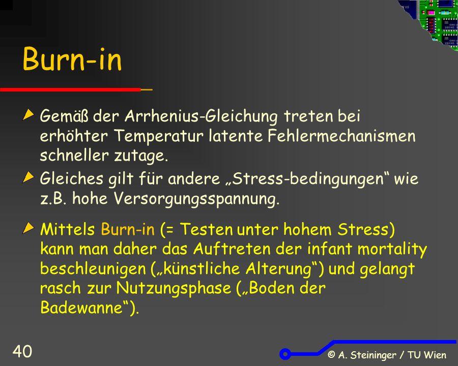 © A. Steininger / TU Wien 40 Burn-in Gemäß der Arrhenius-Gleichung treten bei erhöhter Temperatur latente Fehlermechanismen schneller zutage. Gleiches