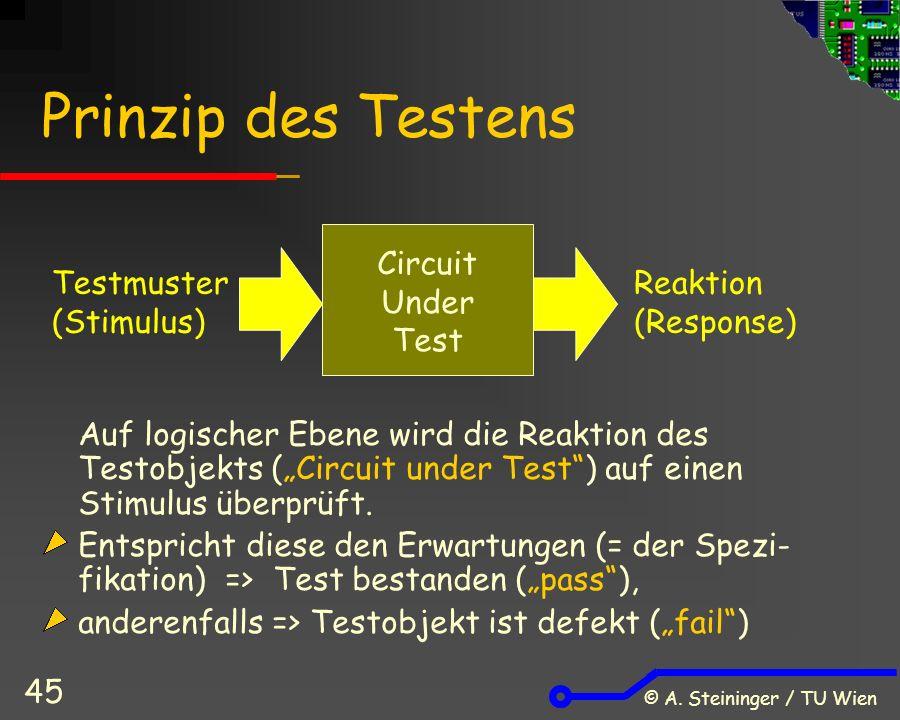 """© A. Steininger / TU Wien 45 Prinzip des Testens Auf logischer Ebene wird die Reaktion des Testobjekts (""""Circuit under Test"""") auf einen Stimulus überp"""