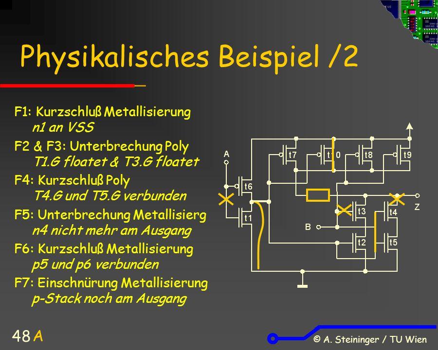 © A. Steininger / TU Wien 48 Physikalisches Beispiel /2 F1: Kurzschluß Metallisierung n1 an VSS F2 & F3: Unterbrechung Poly T1.G floatet & T3.G floate