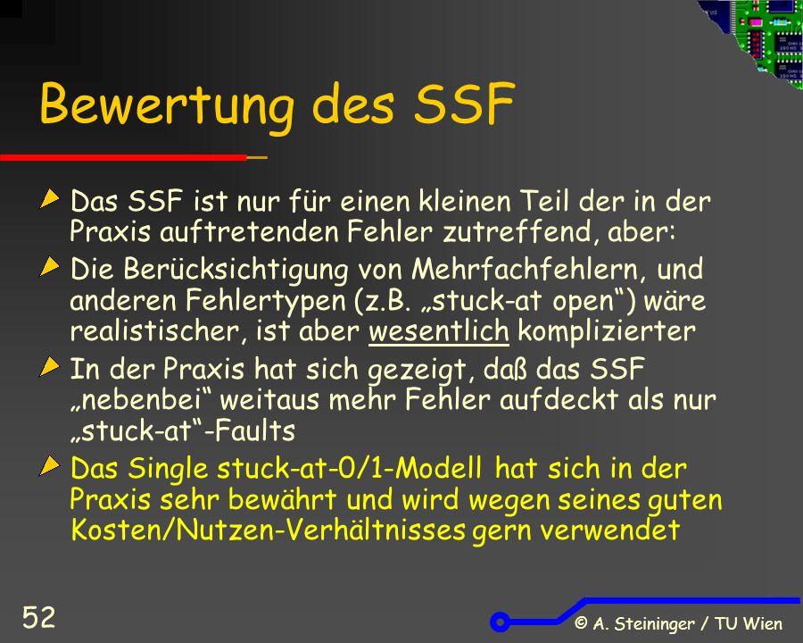 © A. Steininger / TU Wien 52 Bewertung des SSF Das SSF ist nur für einen kleinen Teil der in der Praxis auftretenden Fehler zutreffend, aber: Die Berü