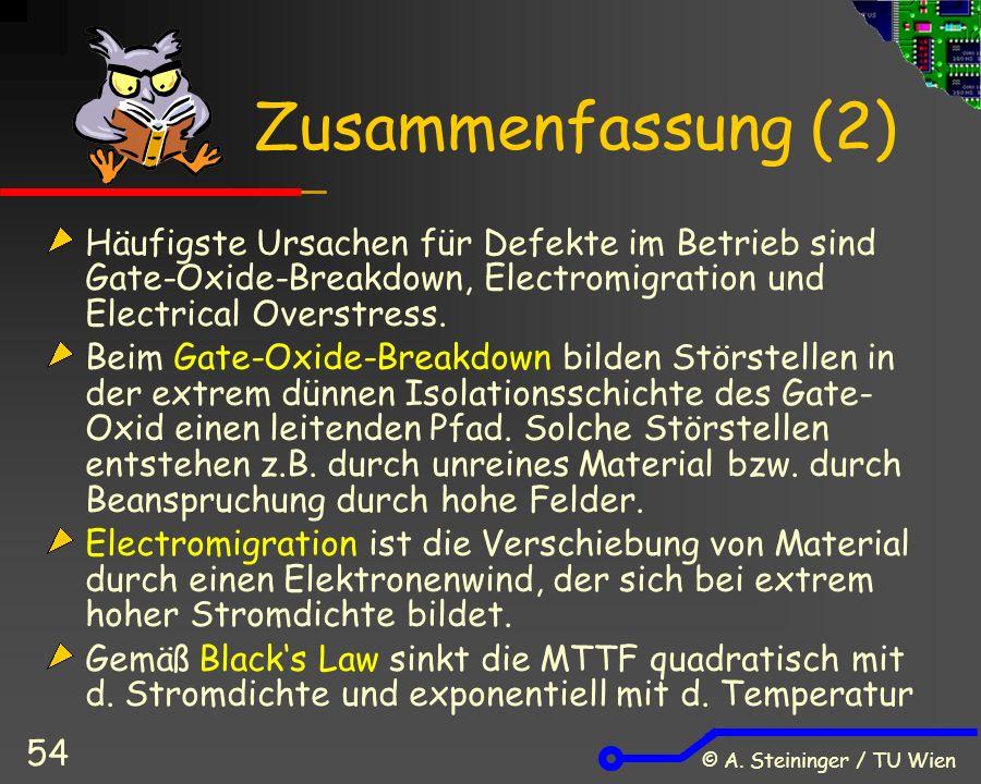 © A. Steininger / TU Wien 54 Zusammenfassung (2) Häufigste Ursachen für Defekte im Betrieb sind Gate-Oxide-Breakdown, Electromigration und Electrical