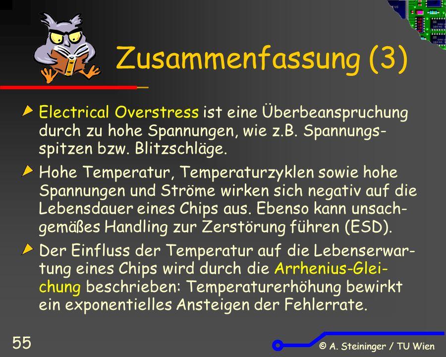 © A. Steininger / TU Wien 55 Zusammenfassung (3) Electrical Overstress ist eine Überbeanspruchung durch zu hohe Spannungen, wie z.B. Spannungs- spitze