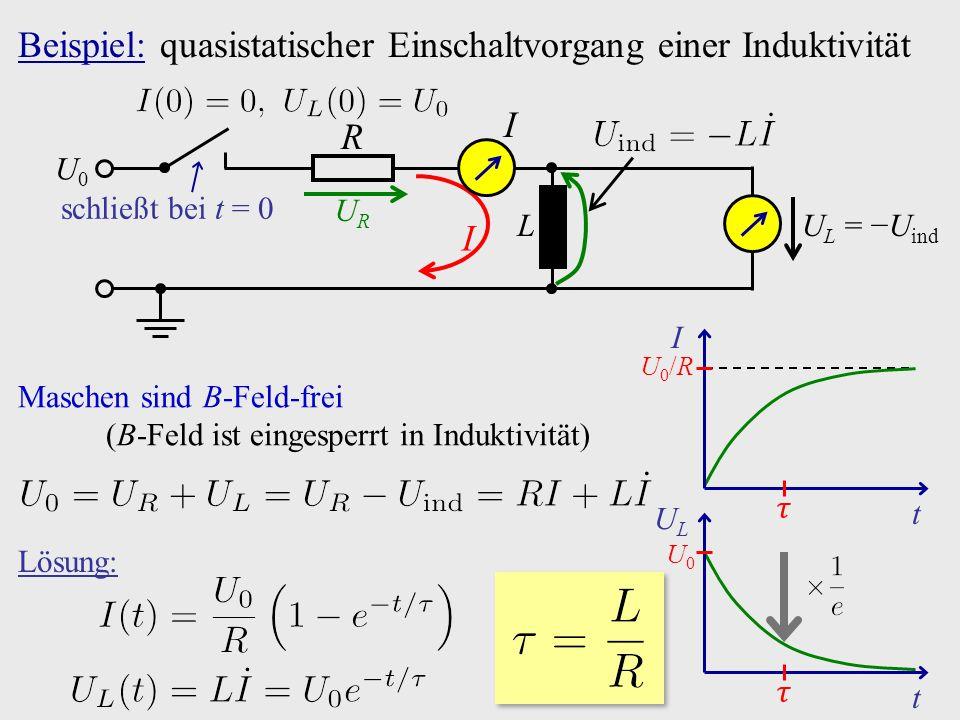 Beispiel: quasistatischer Einschaltvorgang einer Induktivität U L  =  −U ind schließt bei t = 0 U0U0 R L I URUR I Maschen sind B-Feld-frei (B-Feld ist eingesperrt in Induktivität) t I U0/RU0/R U0U0 ULUL t Lösung: