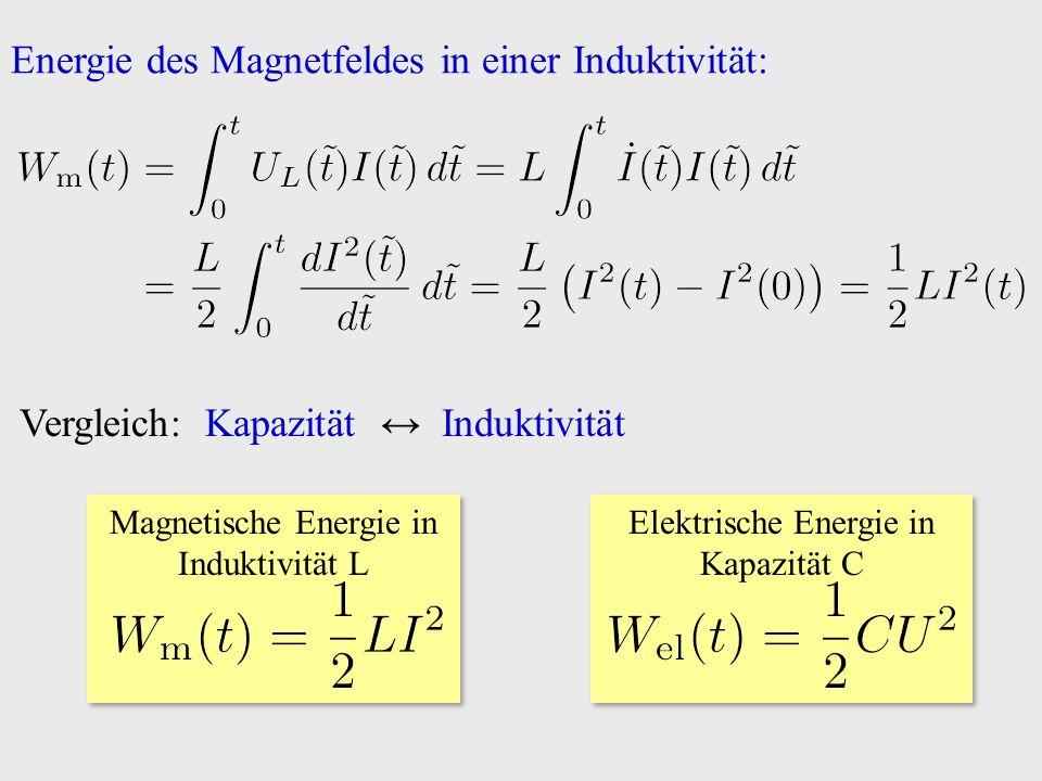 Energie des Magnetfeldes in einer Induktivität: Vergleich: Kapazität ↔ Induktivität Magnetische Energie in Induktivität L Elektrische Energie in Kapazität C