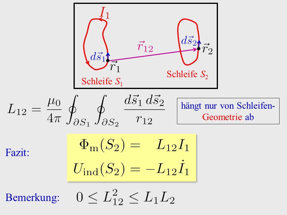 Schleife S 1 Schleife S 2 hängt nur von Schleifen- Geometrie ab Fazit: Bemerkung: