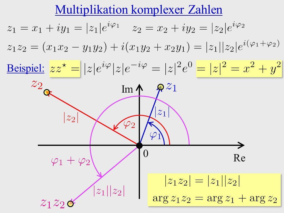 Multiplikation komplexer Zahlen 0 Re Im Beispiel: