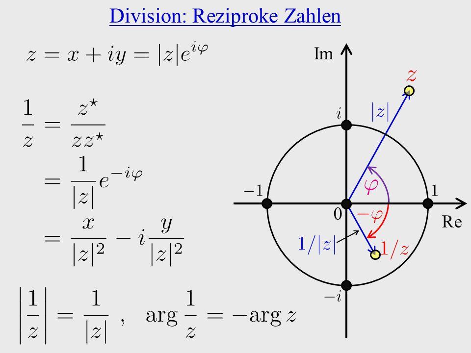 Division: Reziproke Zahlen 0 Re Im