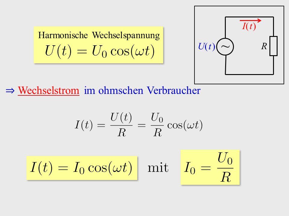 ⇒ Wechselstrom im ohmschen Verbraucher ~ I( t )I( t ) R U( t )U( t ) Harmonische Wechselspannung