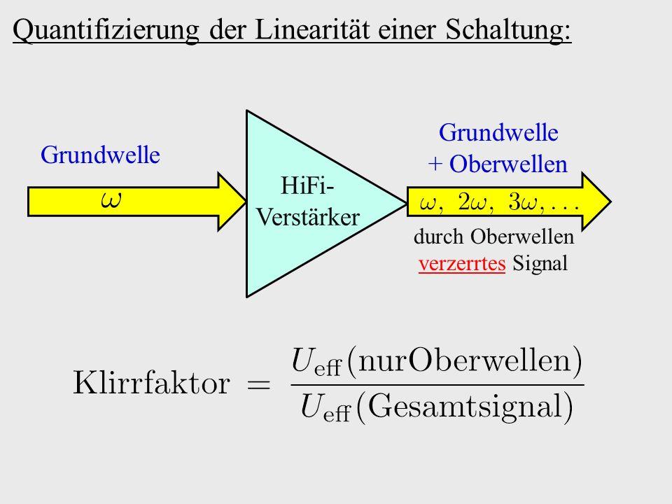 Quantifizierung der Linearität einer Schaltung: Grundwelle Grundwelle + Oberwellen HiFi- Verstärker durch Oberwellen verzerrtes Signal