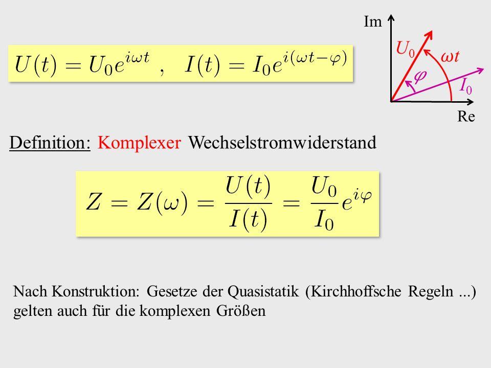 Re Im U0U0 t I0I0 Nach Konstruktion: Gesetze der Quasistatik (Kirchhoffsche Regeln...) gelten auch für die komplexen Größen Definition: Komplexer Wechselstromwiderstand