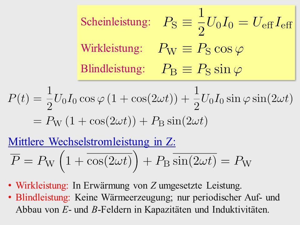 Wirkleistung: Blindleistung: Scheinleistung: Mittlere Wechselstromleistung in Z: Wirkleistung: In Erwärmung von Z umgesetzte Leistung.