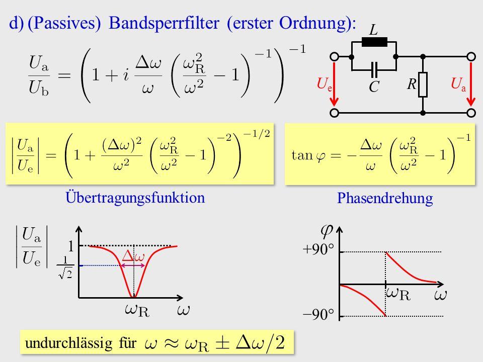d)(Passives) Bandsperrfilter (erster Ordnung): R C UeUe UaUa L undurchlässig für 1 Übertragungsfunktion Phasendrehung −90° +90°