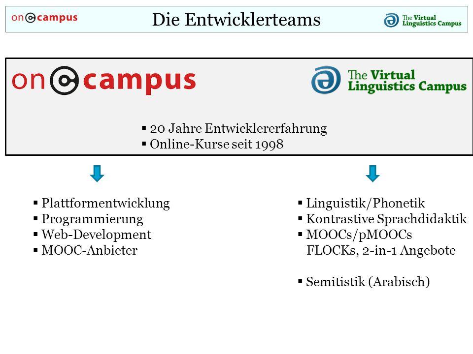 Die Entwicklerteams  20 Jahre Entwicklererfahrung  Online-Kurse seit 1998  Linguistik/Phonetik  Kontrastive Sprachdidaktik  MOOCs/pMOOCs FLOCKs, 2-in-1 Angebote  Semitistik (Arabisch)  Plattformentwicklung  Programmierung  Web-Development  MOOC-Anbieter