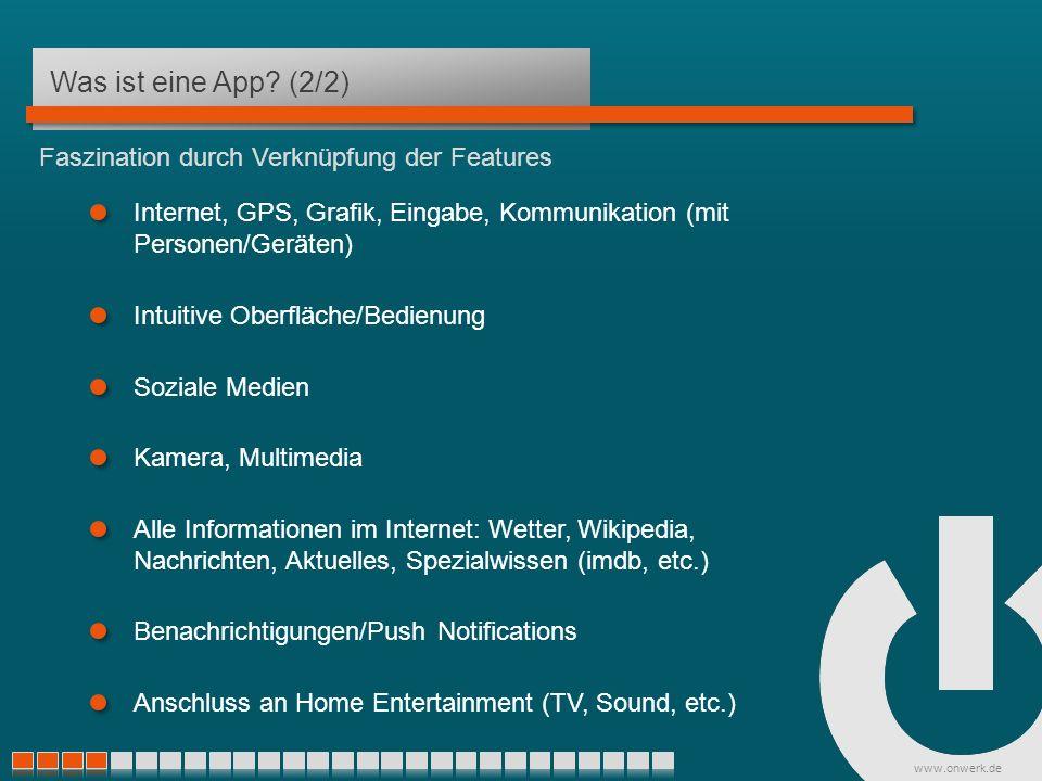 www.onwerk.de Beispiele Eigenes Produkt Spiel – Doodle Jump http://itunes.apple.com/de/app/doodle-jump-achtung-hochste/id307727765?mt=8 Kommunikation – WhatsApp Apps finanzieren sich durch den direkten Verkauf http://itunes.apple.com/de/app/whatsapp-messenger/id310633997?mt=8