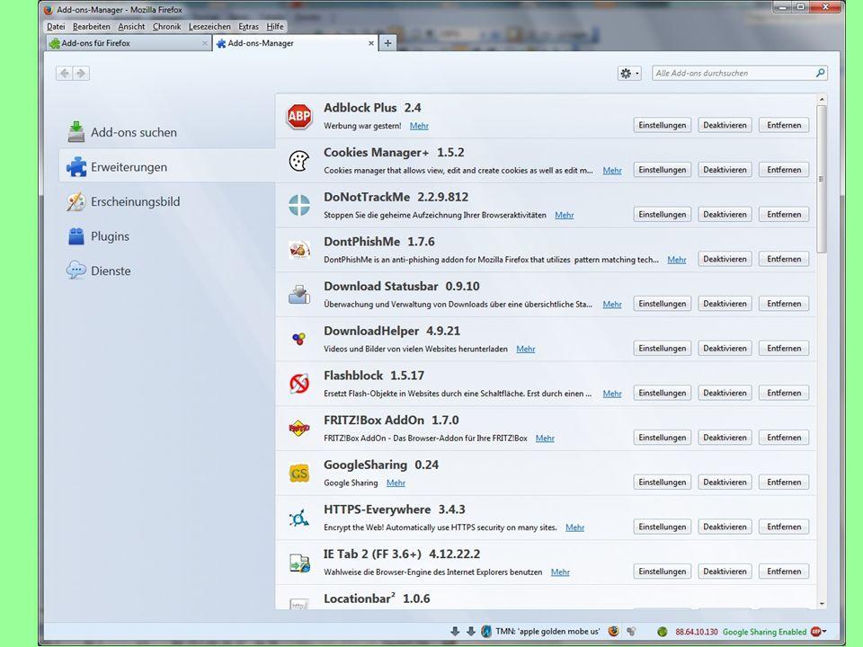 07.01.2014Vortrag Bürgernetz: Peter Petschenka14 Mozilla Firefox Beispiel einiger Add-ons: