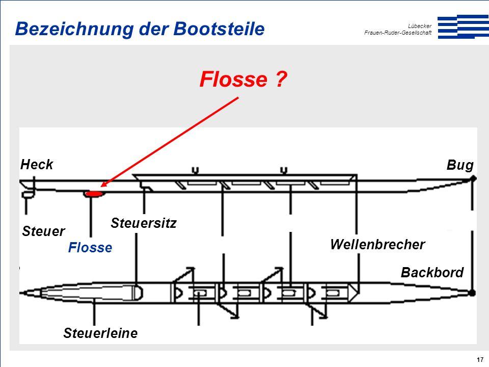 Lübecker Frauen-Ruder-Gesellschaft 17 Heck Bug Backbord Steuer Steuerleine Steuersitz Wellenbrecher Flosse .