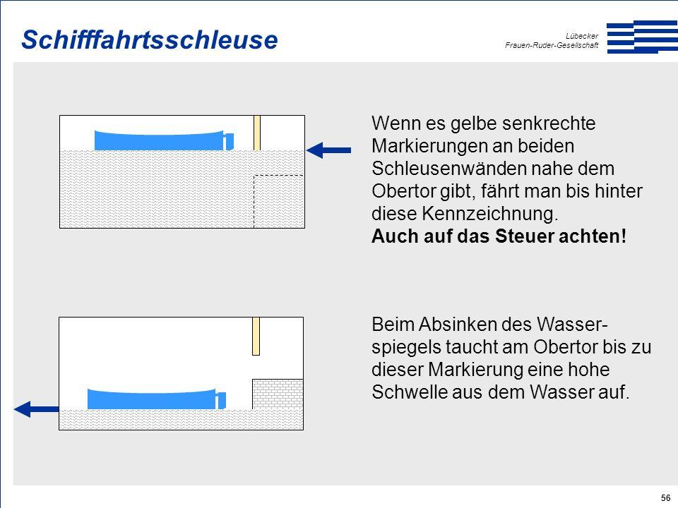 Lübecker Frauen-Ruder-Gesellschaft 56 Schifffahrtsschleuse Wenn es gelbe senkrechte Markierungen an beiden Schleusenwänden nahe dem Obertor gibt, fährt man bis hinter diese Kennzeichnung.
