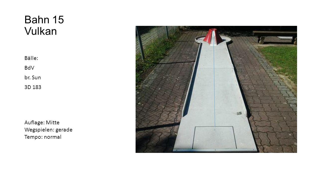 Bahn 15 Vulkan Bälle: BdV br. Sun 3D 183 Auflage: Mitte Wegspielen: gerade Tempo: normal