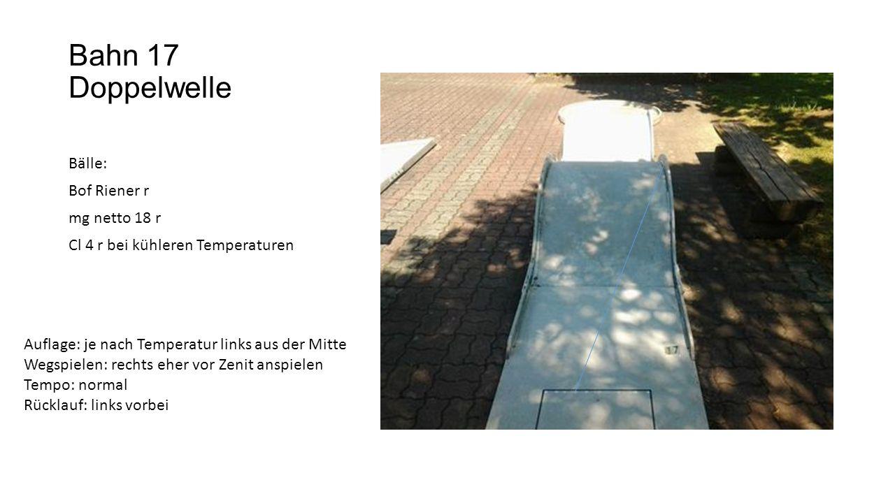 Bahn 17 Doppelwelle Bälle: Bof Riener r mg netto 18 r Cl 4 r bei kühleren Temperaturen Auflage: je nach Temperatur links aus der Mitte Wegspielen: rechts eher vor Zenit anspielen Tempo: normal Rücklauf: links vorbei