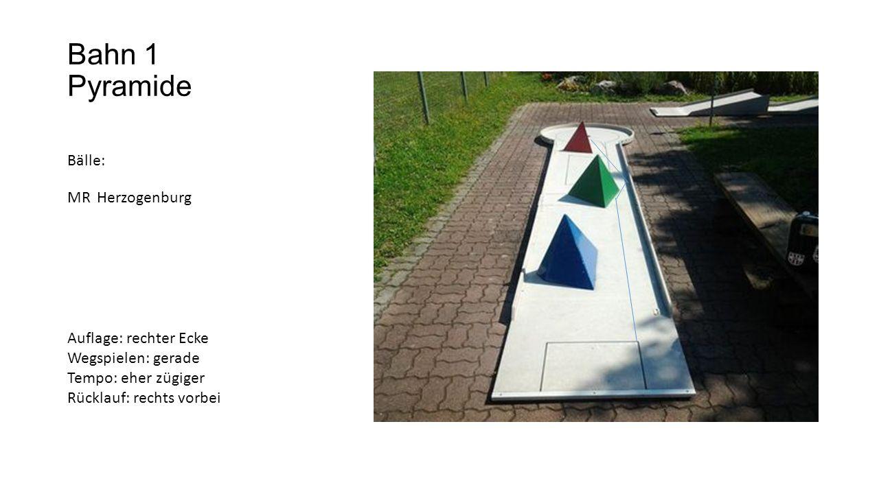 Bahn 1 Pyramide Bälle: MR Herzogenburg Auflage: rechter Ecke Wegspielen: gerade Tempo: eher zügiger Rücklauf: rechts vorbei