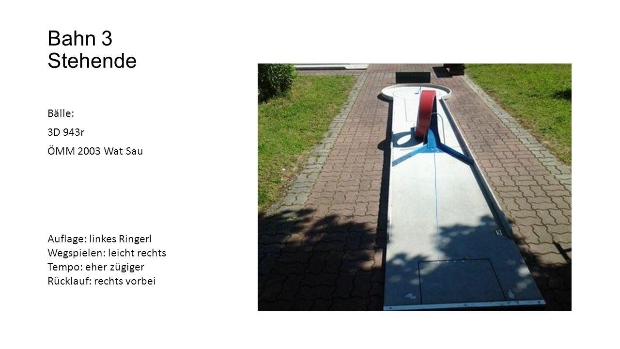 Bahn 4 Mittelkreis Bälle: BdV Auflage: Mitte Wegspielen: gerade Tempo: eher zügiger Von Hinten: anschauen fast gerade, Tempo