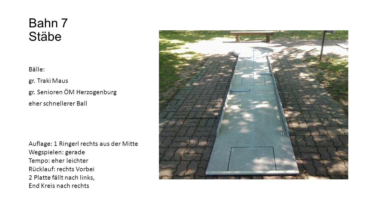 Bahn 8 Liegende Bälle: Alt Erlaa mamoriert Bof Ziegler Nifo 2 falls kälter Auflage: Ringerl rechts aus der Mitte Wegspielen: rechts in die Schmiere Tempo: normal Rücklauf: links Vorbei