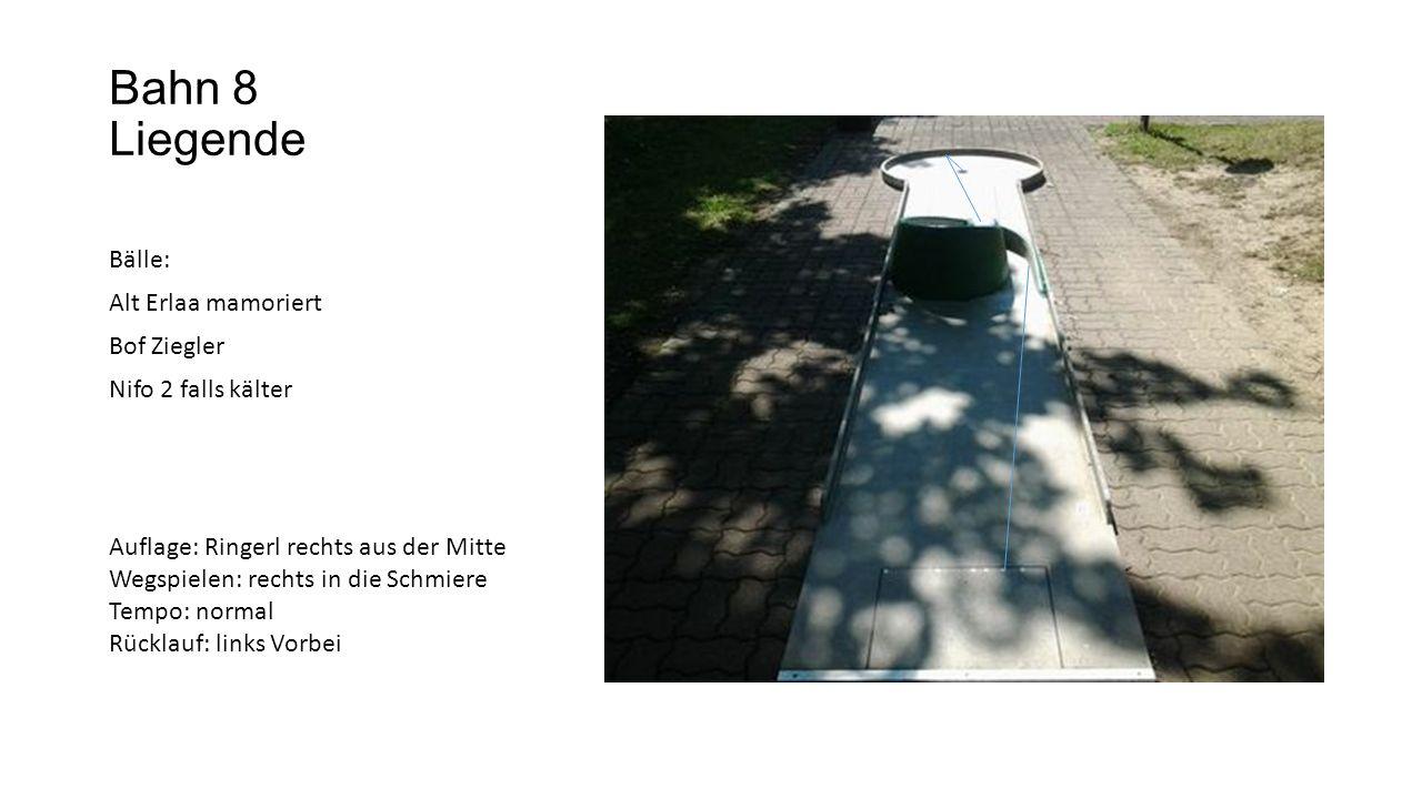 Bahn 9 V BdV W 26 Auflage: links aus der Mitte Wegspielen: links an die Bande Tempo: eher leichter
