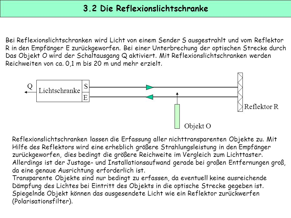 3.1 Optische Sensoren Zur Gruppe der optischen Sensoren gehören eine Anzahl unterschiedlicher Sensortypen, die jeweils für spezielle Aufgaben konzipie