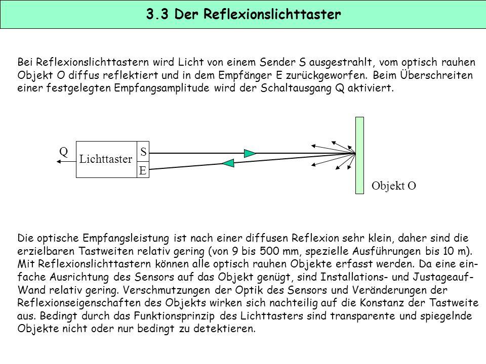 3.2 Die Reflexionslichtschranke Bei Reflexionslichtschranken wird Licht von einem Sender S ausgestrahlt und vom Reflektor R in den Empfänger E zurückg
